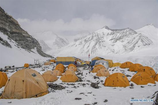 Advance camp at altitude of 6,500 meters on Mount Qomolangma